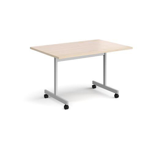 Rectangular fliptop meeting table with silver frame 1200mm x 800mm - maple - Furniture