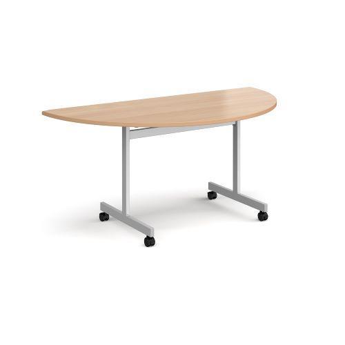 Semi circular fliptop meeting table with silver frame 1600mm x 800mm - beech - Furniture