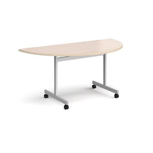 Semi circular fliptop meeting table with silver frame 1600mm x 800mm - maple - Furniture