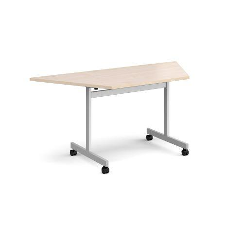 Trapezoidal fliptop meeting table with silver frame 1600mm x 800mm - maple - Furniture