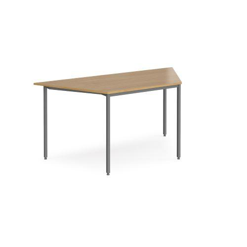 Trapezoidal flexi table with graphite frame 1600mm x 800mm - oak - Furniture
