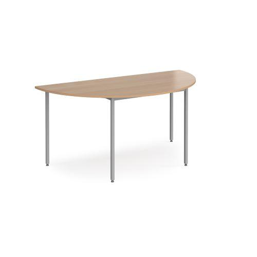 Semi circular flexi table with graphite frame 1600mm x 800mm - beech - Furniture