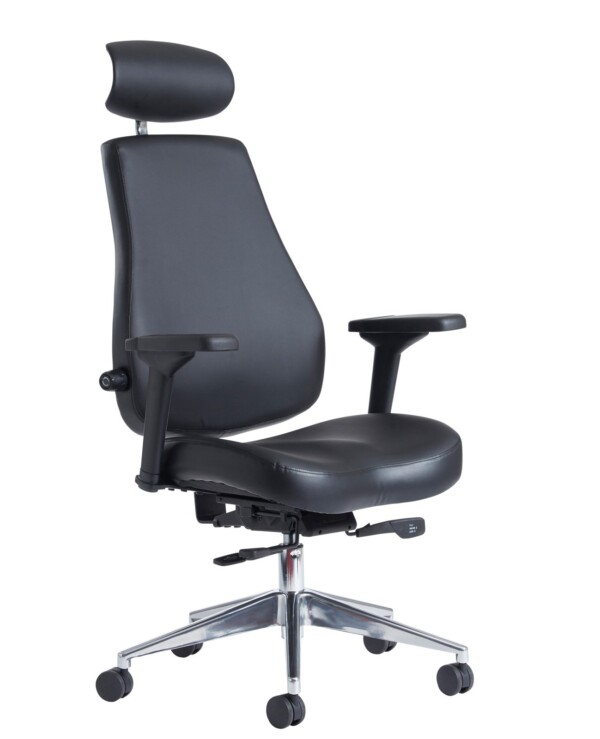 Franklin high back 24 hour task chair - black faux leather - Furniture