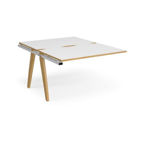 Fuze add on units back to back 1200mm x 1600mm - white frame, white top with oak edging - Furniture