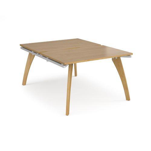 Fuze back to back desks 1200mm x 1600mm - white frame, oak top - Furniture