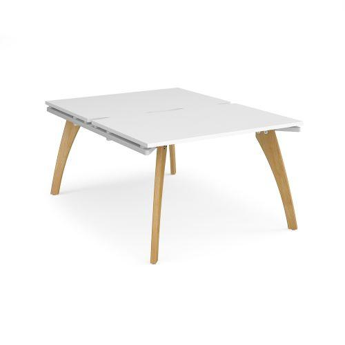 Fuze back to back desks 1200mm x 1600mm - white frame, white top - Furniture