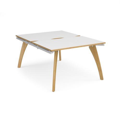 Fuze back to back desks 1200mm x 1600mm - white frame, white top with oak edging - Furniture