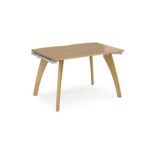 Fuze single desk 1200mm x 800mm - white frame, oak top - Furniture