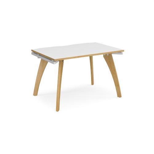 Fuze single desk 1200mm x 800mm - white frame, white top with oak edging - Furniture