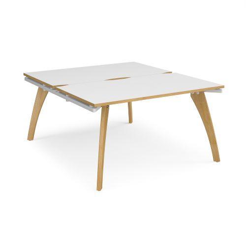 Fuze back to back desks 1400mm x 1600mm - white frame, white top with oak edging - Furniture