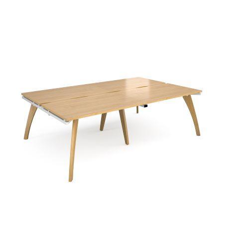 Fuze double back to back desks 2400mm x 1600mm - white frame, oak top - Furniture