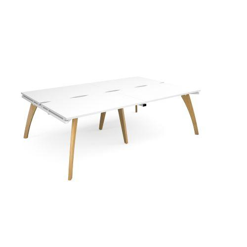 Fuze double back to back desks 2400mm x 1600mm - white frame, white top - Furniture