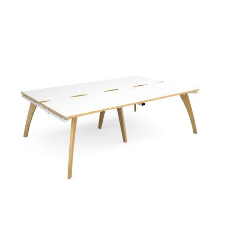 Fuze double back to back desks 2400mm x 1600mm - white frame, white top with oak edging - Furniture