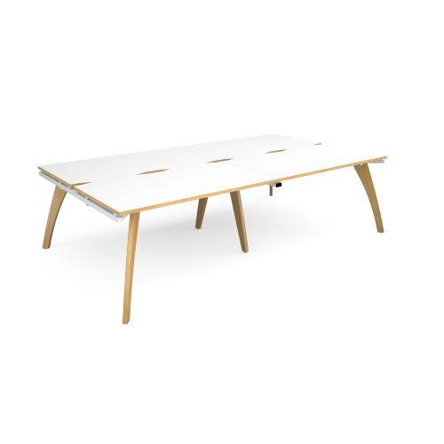 Fuze double back to back desks 2800mm x 1600mm - white frame, white top with oak edging - Furniture