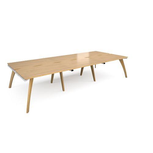 Fuze triple back to back desks 3600mm x 1600mm - white frame, oak top - Furniture