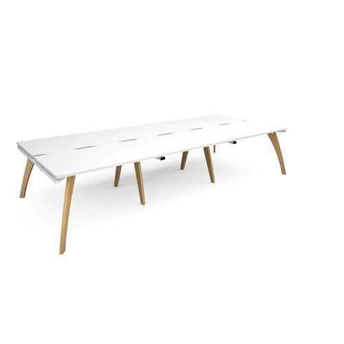 Fuze triple back to back desks 3600mm x 1600mm - white frame, white top - Furniture