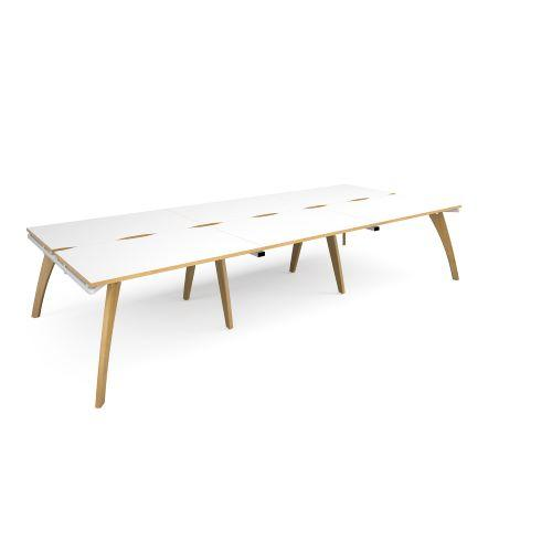 Fuze triple back to back desks 3600mm x 1600mm - white frame, white top with oak edging - Furniture