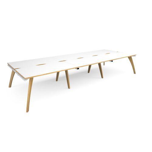 Fuze triple back to back desks 4200mm x 1600mm - white frame, white top with oak edging - Furniture