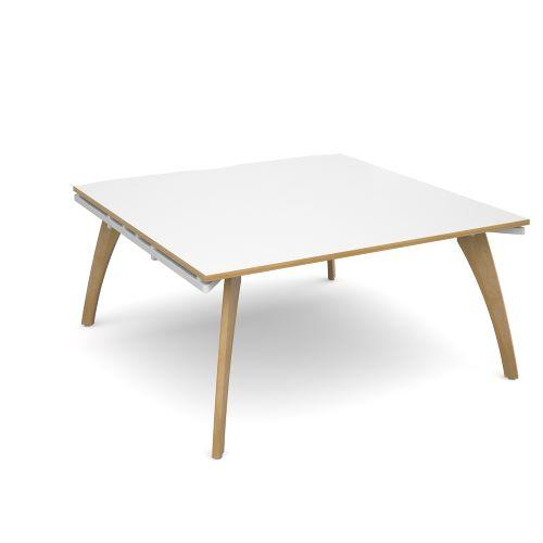 Fuze boardroom table starter unit 1600mm x 1600mm - white frame, white top with oak edging - Furniture