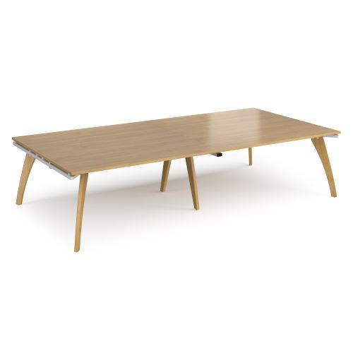 Fuze rectangular boardroom table 3200mm x 1600mm - white frame, oak top - Furniture