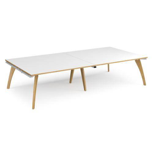 Fuze rectangular boardroom table 3200mm x 1600mm - white frame, white top with oak edging - Furniture