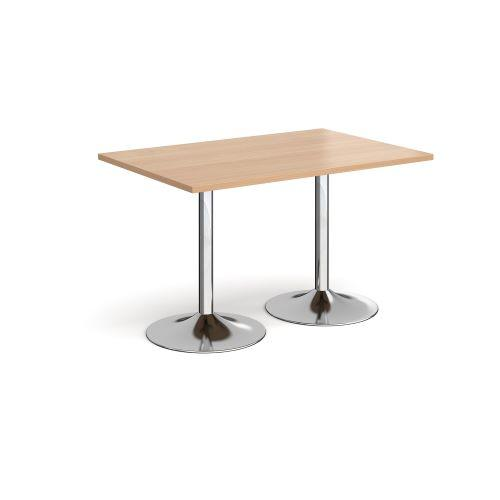 Genoa rectangular dining table with chrome trumpet base 1200mm x 800mm - beech - Furniture