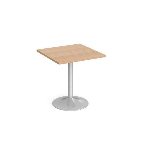 Genoa square dining table with chrome trumpet base 700mm - beech - Furniture
