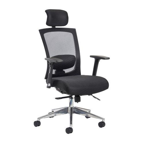 Gemini mesh task chair with adjustable arms and headrest - black - Furniture