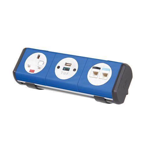 Hubble clip-on power module 1 x UK socket, 1 x TUF (A&C connectors) USB charger, 2 x RJ45 sockets - dark blue - Furniture