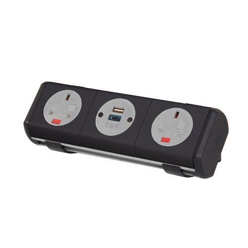 Hubble clip-on power module 2 x UK sockets, 1 x TUF (A&C connectors) USB charger - black - Furniture