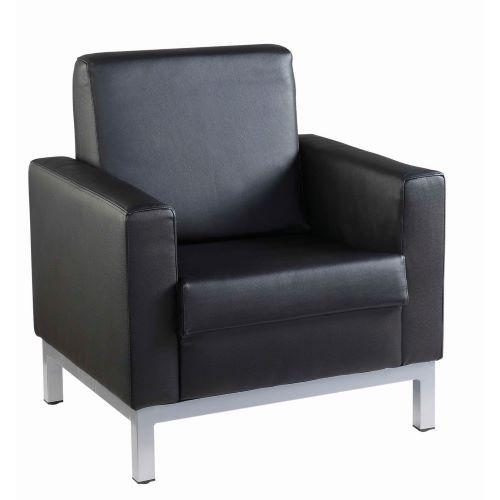 Helsinki square back reception single tub chair 800mm wide - black leather faced - Furniture