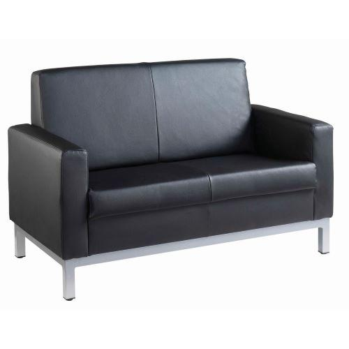 Helsinki square back reception 2 seater chair 1340mm wide - black leather faced - Furniture