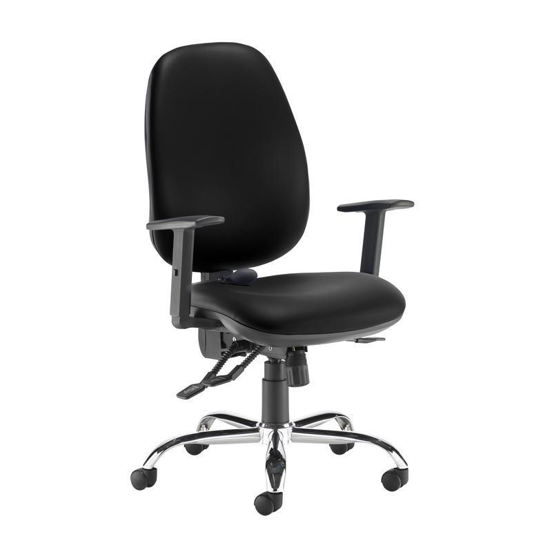 Jota ergo 24hr ergonomic asynchro task chair - Nero Black vinyl - Furniture