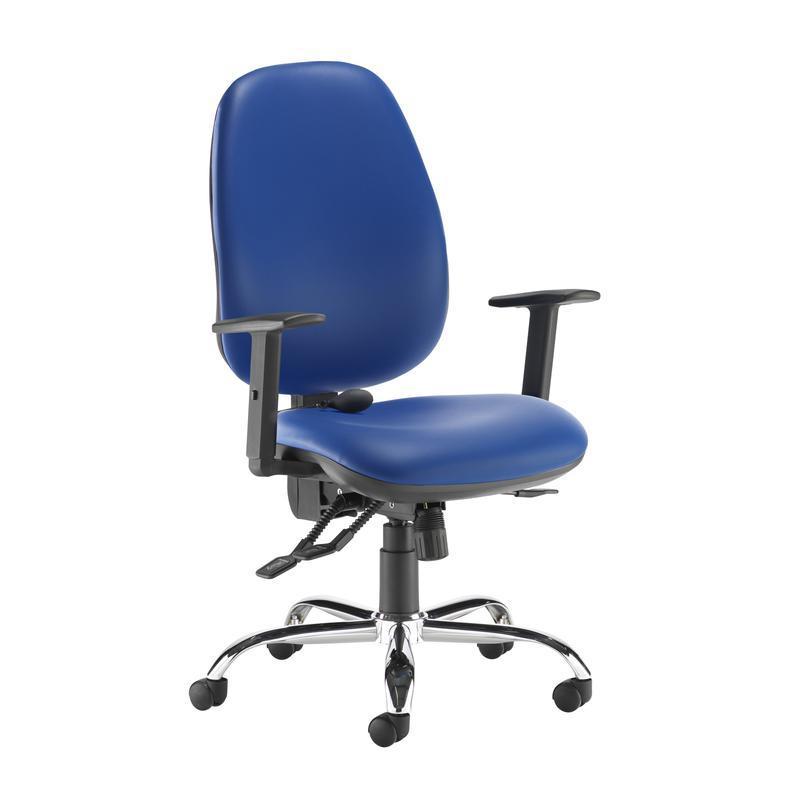 Jota ergo 24hr ergonomic asynchro task chair - Ocean Blue vinyl - Furniture