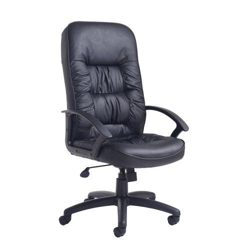 King high back managers chair - black leather faced - Furniture