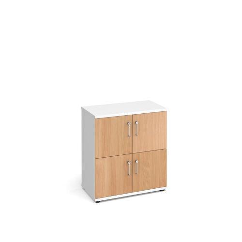 Wooden storage lockers 4 door - white with beech doors - Furniture