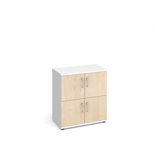 Wooden storage lockers 4 door - white with maple doors - Furniture