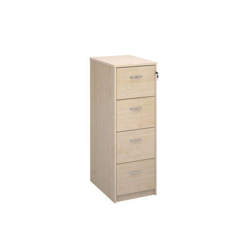 Wooden 4 drawer filing cabinet with silver handles 1360mm high - maple - Furniture