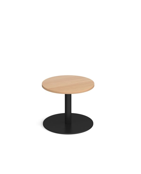 Monza circular coffee table with flat round black base 600mm - beech - Furniture