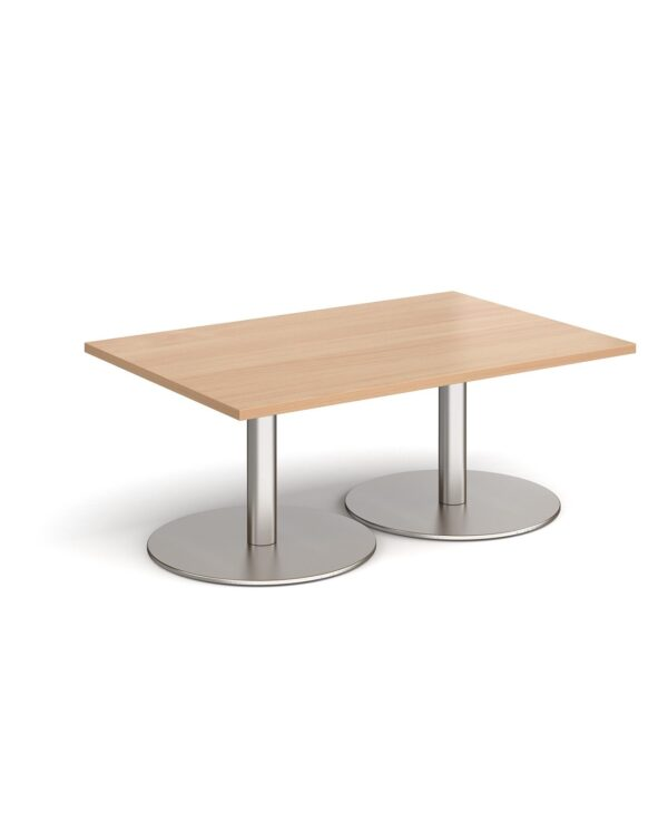 Monza rectangular coffee table with flat round brushed steel bases 1200mm x 800mm - beech - Furniture