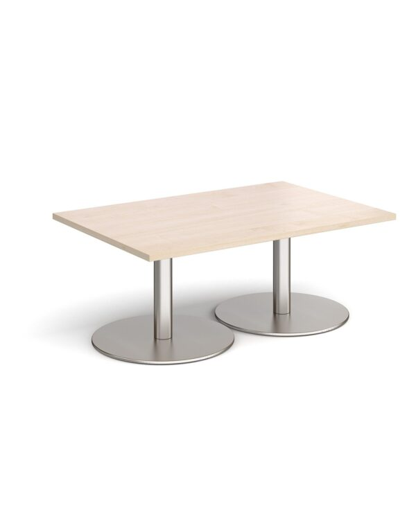 Monza rectangular coffee table with flat round brushed steel bases 1200mm x 800mm - maple - Furniture