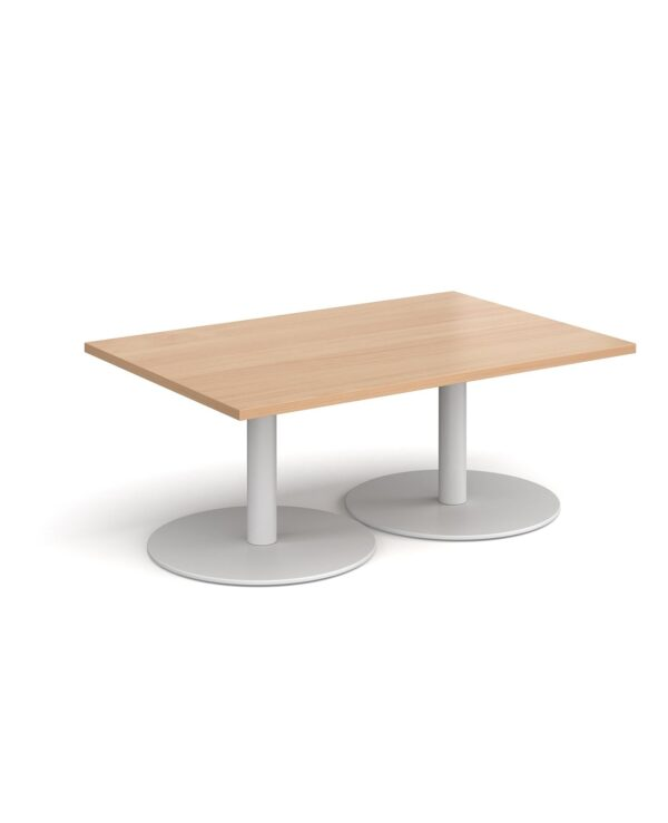 Monza rectangular coffee table with flat round black bases 1200mm x 800mm - beech - Furniture