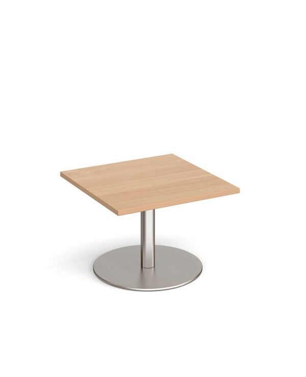 Monza square coffee table with flat round brushed steel base 700mm - beech - Furniture