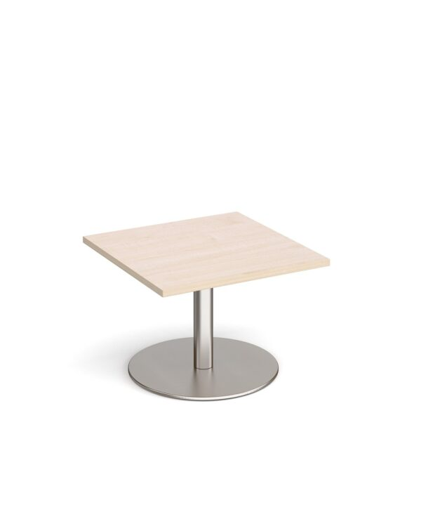 Monza square coffee table with flat round brushed steel base 700mm - maple - Furniture