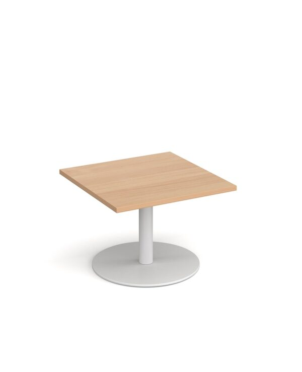 Monza square coffee table with flat round black base 700mm - beech - Furniture