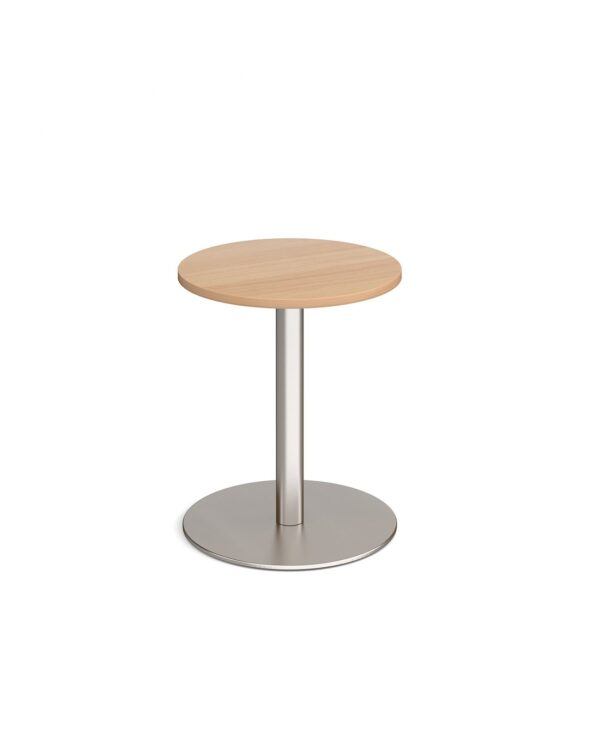 Monza circular dining table with flat round brushed steel base 600mm - beech - Furniture
