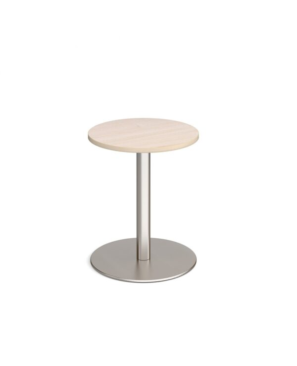 Monza circular dining table with flat round brushed steel base 600mm - maple - Furniture