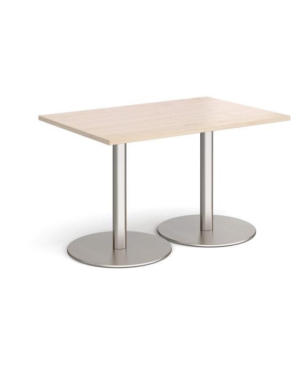 Monza rectangular dining table with flat round brushed steel bases 1200mm x 800mm - maple - Furniture