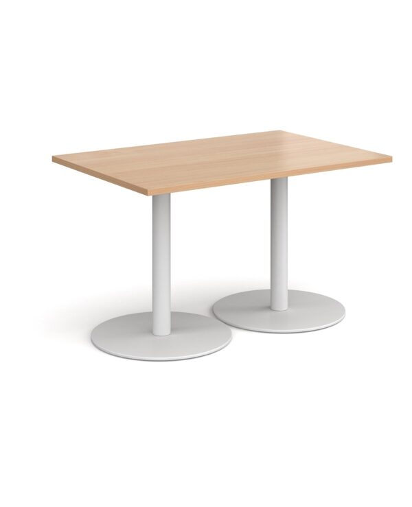 Monza rectangular dining table with flat round black bases 1200mm x 800mm - beech - Furniture