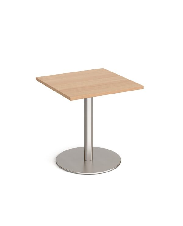Monza square dining table with flat round brushed steel base 700mm - beech - Furniture